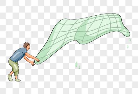 手绘渔民撒网捕鱼人物形象图片