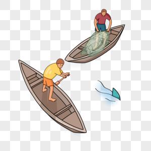 手绘渔民划船捕鱼人物形象图片
