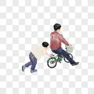 爸爸和孩子骑车图片