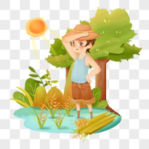 小满劳动节辛勤劳作种田汗水少年在稻田里图片