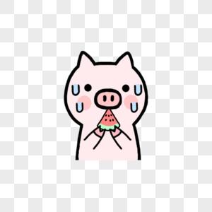 大汗淋漓的小猪开心吃西瓜图片