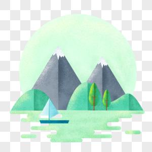 手绘几何山水风景图片