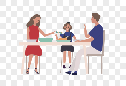 矢量扁平温馨一家人吃饭场景素材图片