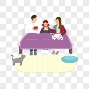 一家人和两只猫的生活矢量素材图片