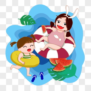 游泳吃瓜的女孩图片