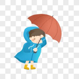 暴雨中撑着伞的男孩图片