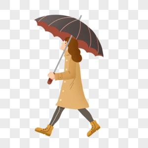 暴雨天撑着伞的女士图片