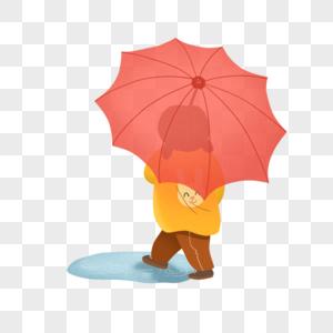 下雨天撑着粉红色伞的可爱小朋友图片