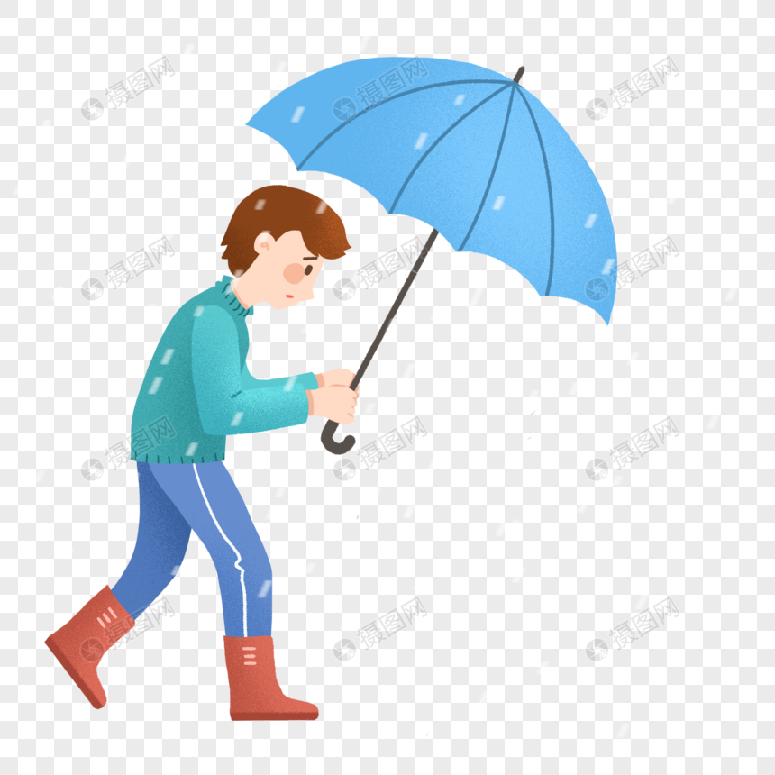 雨天撑着伞行走的男士图片