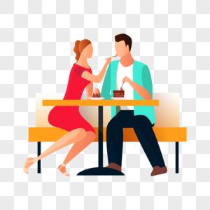 情侣吃蛋糕图片