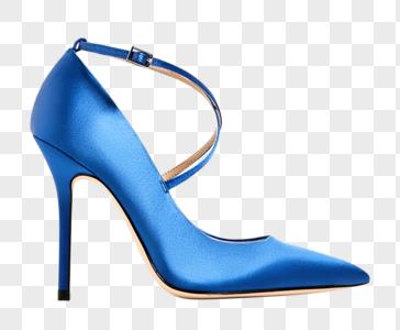 蓝色高亮高跟鞋图片