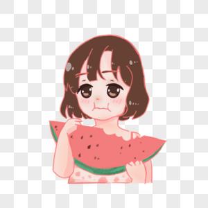 可爱吃西瓜的女孩图片