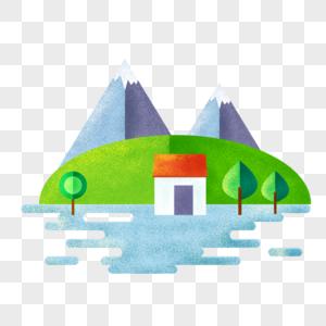手绘山水风景图片