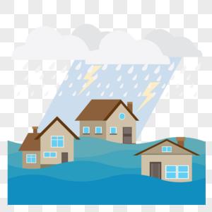暴雨天被水淹没的房子图片