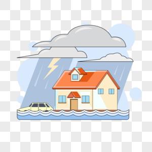 暴雨天被水淹没的房子和汽车图片