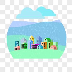 暴雨中的城市图片