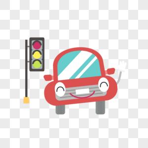 红绿灯和车矢量扁平元素图片