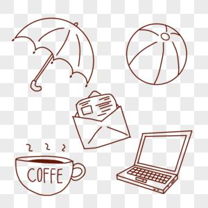 雨伞笔记本咖啡信封图片