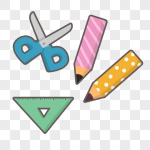 办公学习用品铅笔剪刀和三角尺子图片