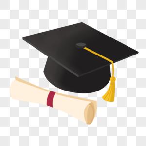 学士帽和毕业证书图片