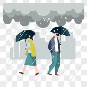 雨中行走的路人图片