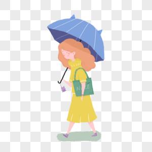 雨天撑伞的女孩图片