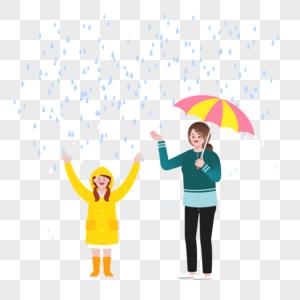 下雨天场景矢量素材图片