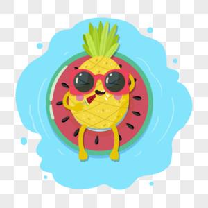 手绘夏日素材吃西瓜的菠萝图片