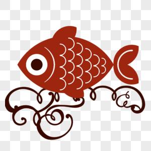 卡通手绘红色小鱼和花纹图片