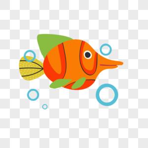 卡通手绘吐泡泡的小鱼图片
