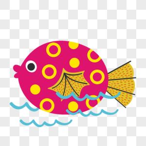 手绘可爱彩色小鱼和蓝色水波图片