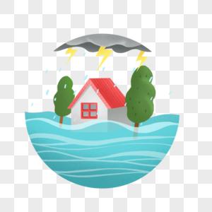 下暴雨被淹没的房子和树图片