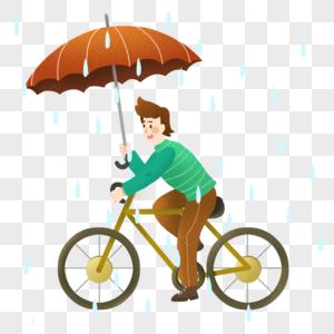 雨中骑自行车的男士图片
