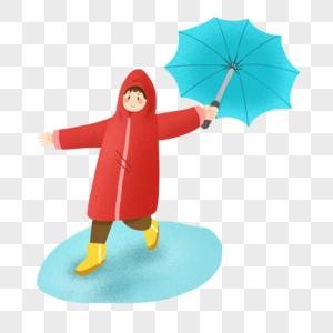 穿着红色雨衣打着伞的可爱小孩图片
