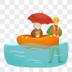暴雨季节援救老人的消防兵图片