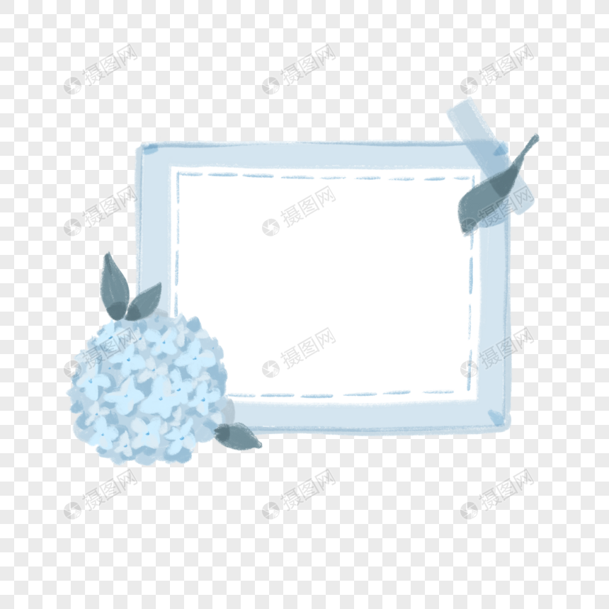 素材格式绣元素蓝色夏日边框psd球花_设计素未来设计上海图片