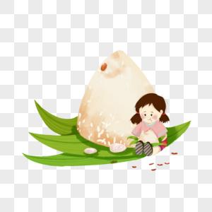 吃粽子的女孩图片