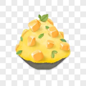 夏日美食芒果冰沙手绘插画素材图片