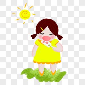太阳下吃冰棒的女孩图片