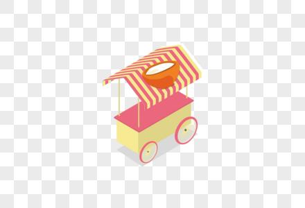 AI矢量图扁平化2.5D卡通可爱面食房车街摊车图片