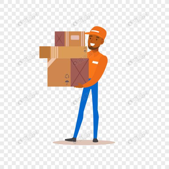 快递员运送货物元素图片