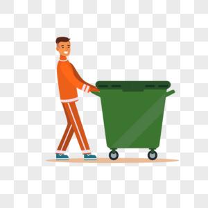 环卫工人推垃圾桶元素图片