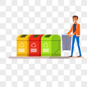 环卫工人垃圾回收元素图片