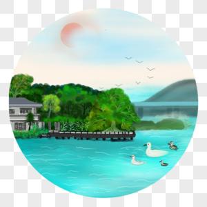 中国风水彩水墨码头野鸭图片