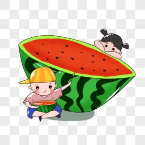 吃西瓜的儿童图片