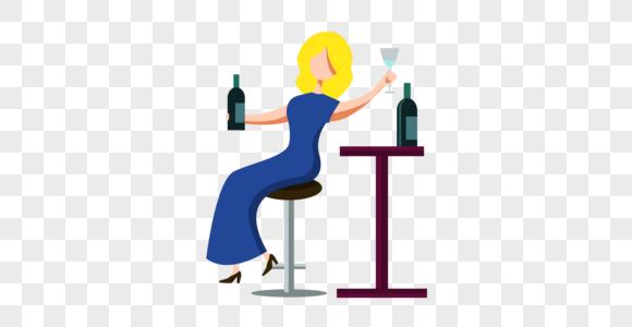 酒吧美女休闲喝酒图片