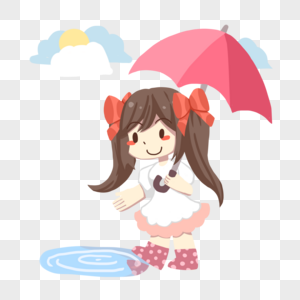 打伞少女图片