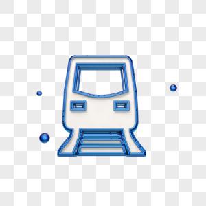 创意蓝色火车图标图片