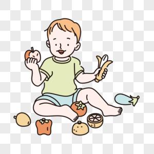 儿童节孩子吃水果元素图片
