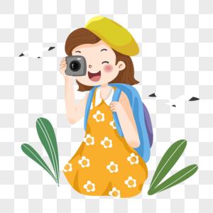 夏天旅游度假中照相的小姑娘图片